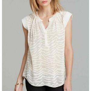 $275 Rebecca Taylor Zebra Clip Top Blouse Powder Cream Beige Women's Size 6